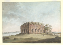 An unidentified  mosque in the 15th century Bengal style standing above a river.  It is composed of 5 by 3 bays with a corresponding number of domes.  1817-21.